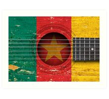 Old Vintage Acoustic Guitar with Cameroon Flag Art Print