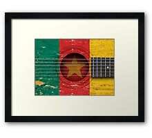 Old Vintage Acoustic Guitar with Cameroon Flag Framed Print