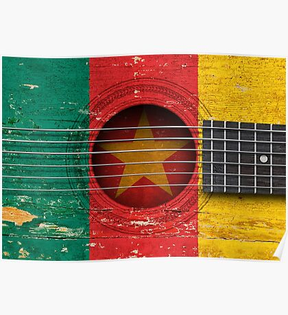 Old Vintage Acoustic Guitar with Cameroon Flag Poster