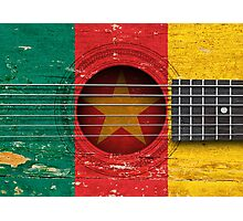 Old Vintage Acoustic Guitar with Cameroon Flag Photographic Print