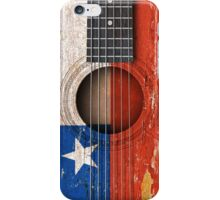 Old Vintage Acoustic Guitar with Chilean Flag iPhone Case/Skin