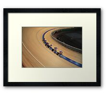 Cycling race Indoor track Framed Print