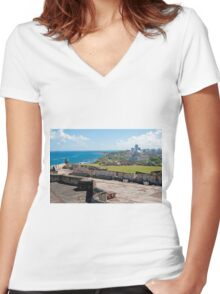 Old San Juan. Women's Fitted V-Neck T-Shirt