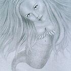 Curious Mermaid (Graphite & White Pastel Chalk) by Nicole I Hamilton