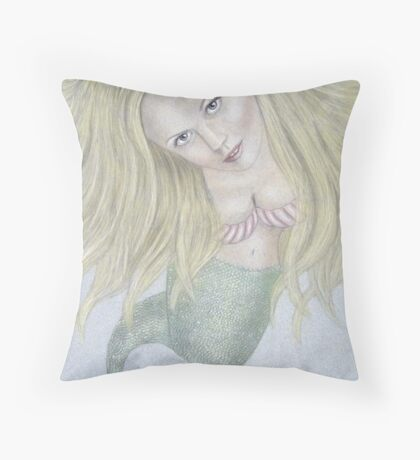 Curious Mermaid (Graphite & Colored Pastel Chalk) Throw Pillow
