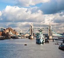 HMS Belfast and Tower Bridge London by DonDavisUK