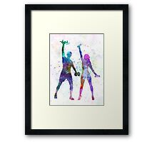 woman exercising with man coach Framed Print