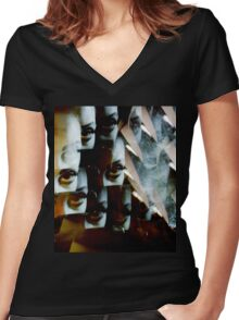 Multi-image surreal portrait of young lady in the dark in surrealist blue green tones Women's Fitted V-Neck T-Shirt