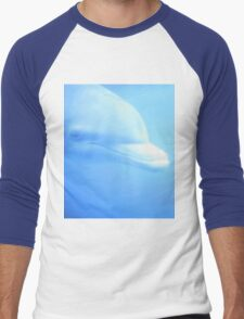 Dolphin swimming underwater in aquarium zoo looking at us color digital photo in pale blue Men's Baseball ¾ T-Shirt