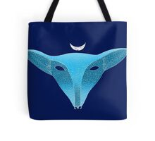 Blue fox mask with moon Tote Bag