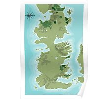 Topographic Map of Westeros Poster