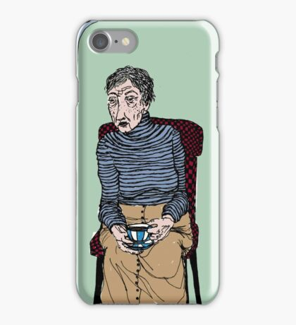 Old Lady Drinking Tea iPhone Case/Skin