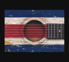 Old Vintage Acoustic Guitar with Costa Rican Flag Kids Clothes