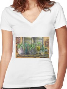 Sin flores Women's Fitted V-Neck T-Shirt