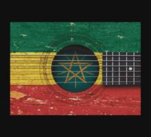 Old Vintage Acoustic Guitar with Ethiopian Flag Kids Clothes