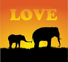 Elephant Love at Sunset by William Fehr