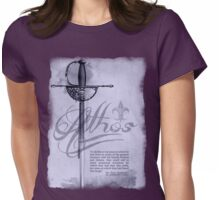 Athos with Sword and Quote Womens Fitted T-Shirt