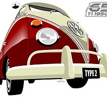 VW Transporter red - 65th anniversary by car2oonz