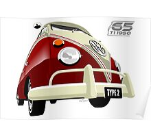VW Transporter red - 65th anniversary Poster
