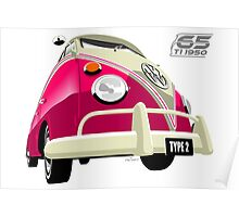 VW Transporter pink - 65th anniversary Poster