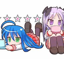 Konata and Kagami Chibi Lucky Star by MountyBounty