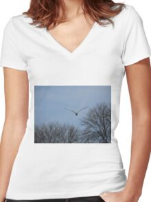 Seagull Over Trees Women's Fitted V-Neck T-Shirt