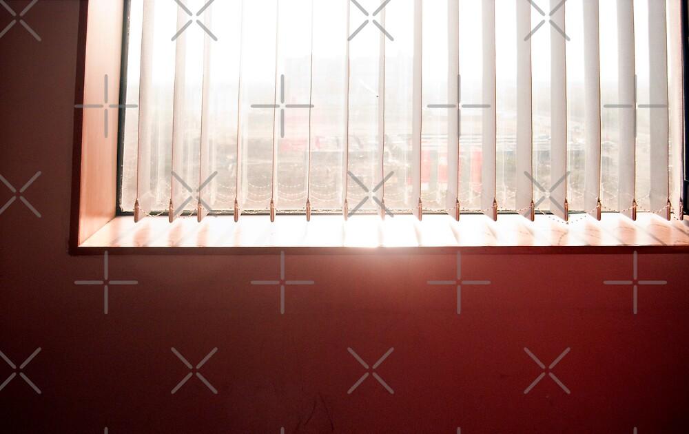 Sunlight streaming through the venetian blinds of an office window by ashishagarwal74