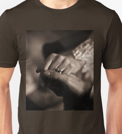 Bride and groom couple man and woman holding hands in marriage wedding black and white sepia tone silver gelatin 35mm negative film photo Unisex T-Shirt