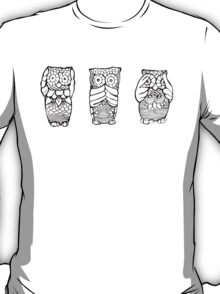 Hear, See, Speak No Evil Owl T-Shirt