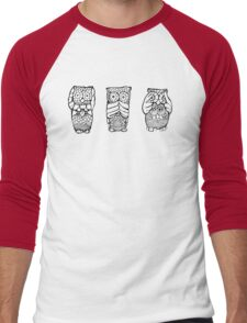 Hear, See, Speak No Evil Owl Men's Baseball ¾ T-Shirt