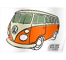 VW Type 2 bus orange Poster