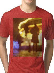 People walking in street at night with fairground lights in Hasselblad vintage camera analogue film photo Tri-blend T-Shirt