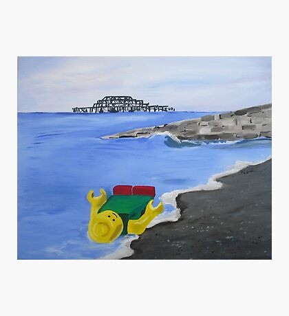 Lego English Seaside Beach Childrens Art Blue Yellow Color Scheme Contemporary Acrylic Painting Photographic Print