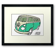 VW Type 2 bus green Framed Print