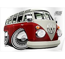 VW split-screen bus caricature Poster