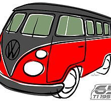 VW Type 2 bus red/black by car2oonz