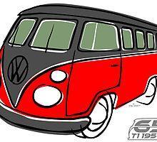 VW Type 2 bus red/black by car2oonz