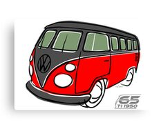 VW Type 2 bus red/black Canvas Print