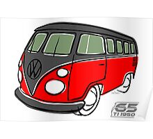 VW Type 2 bus red/black Poster