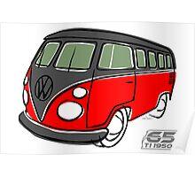 VW Type 2 bus red/black Poster