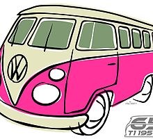 VW Type 2 bus pink by car2oonz