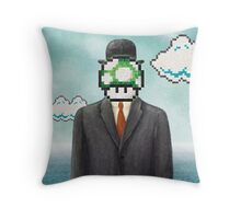 Magritte Parody Video Game Son of Man 1UP Throw Pillow