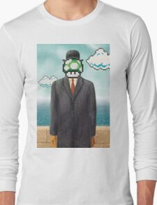 Magritte Parody Video Game Son of Man 1UP Long Sleeve T-Shirt