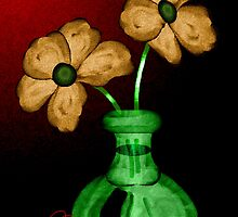 flowers in a green vase by Phoenix-Appeal