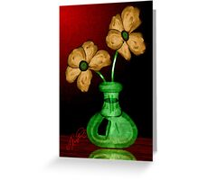 flowers in a green vase Greeting Card