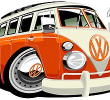 VW Type 2 bus orange caricature by car2oonz