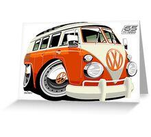 VW Type 2 bus orange caricature Greeting Card