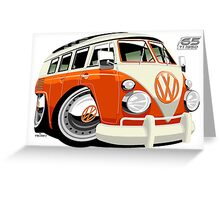 VW Type 2 bus orange caricature Greeting Card
