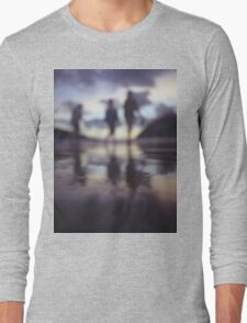 Silhouette of people walking on beach dusk sunset evening sky Hasselblad medium format film analogue photo Long Sleeve T-Shirt