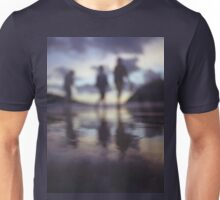 Silhouette of people walking on beach dusk sunset evening sky Hasselblad medium format film analogue photo Unisex T-Shirt